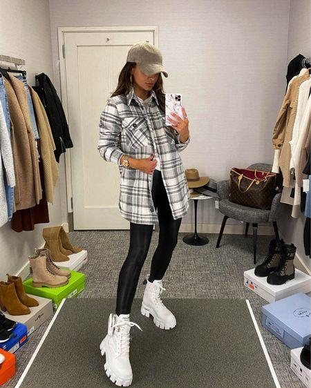 Casual fall outfit  Nordstrom plaid shirt jacket Spanx faux leather leggings  Prada combat boots    #LTKunder100 #LTKstyletip #LTKshoecrush
