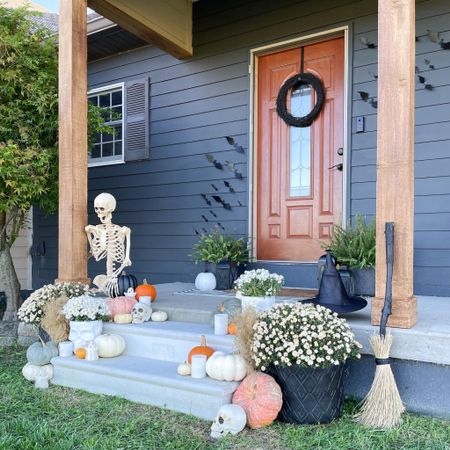 Wood Look Paint for the win. The color used is Honey Oak. Halloween porch decor inspo.   #LTKhome #LTKSeasonal