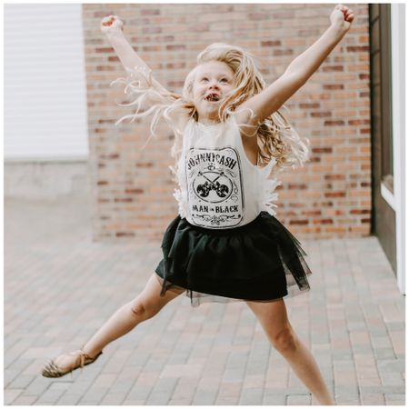 Hooray for 🐪 day! This is usually outcome when I ask my kids to stand + smile. . Addison's Johnny Cash fringe tank is still available in most sizes! Grab one before summer ends for a cute summer + back-to-school transition piece. The skirt + flats with it kill me. 😍 Shop your screenshot of this pic with the LIKEtoKNOW.it app  http://liketk.it/2wTim #liketkit #LTKkids #LTKunder50 @liketoknow.it   📷: @trisha