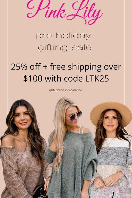 Pink lily, holiday sweater, oversized sweater, cozy fall outfits, holiday gift ideas   #LTKunder50 #LTKHoliday #LTKsalealert