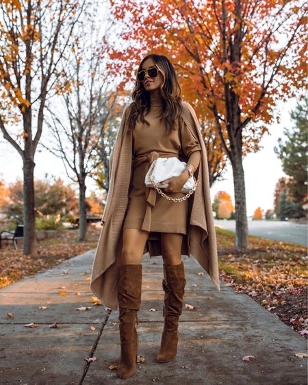Walmart fall fashion picks Walmart camel cape wearing an XXS Walmart camel sweater dress wearing an XS Walmart brown faux suede boots    #LTKsalealert #LTKunder50 #LTKunder100