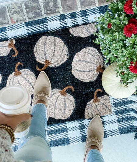 Fall porch decor is up! Loving this white pumpkin rug from Target!  #LTKshoecrush #LTKhome #LTKSeasonal