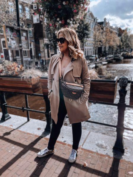 Trench coat, dad coat, faux leather leggings, golden goose sneakers, animal print sneakers, Louis Vuitton bumbag, oversized square sunglasses   #LTKeurope #LTKtravel #LTKSeasonal