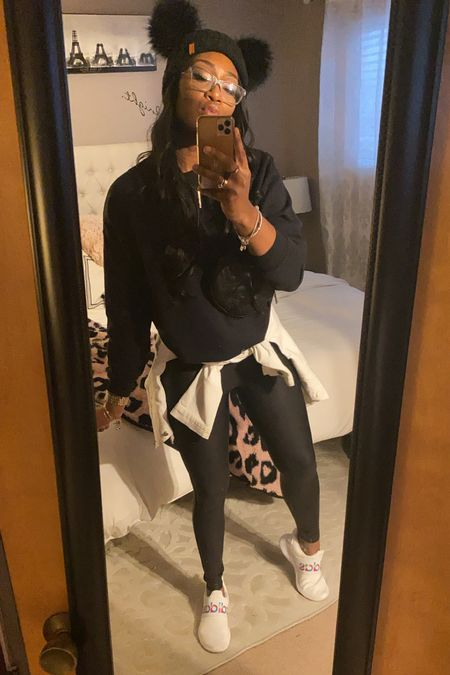 These spanx leggings are so easy to dress up or down. I threw a black oversized sweatshirt over them and tied a white jean jacket around my waist to tie in these amazing and super comfy adidas sneakers!  #LTKunder100 #LTKgiftspo #LTKstyletip