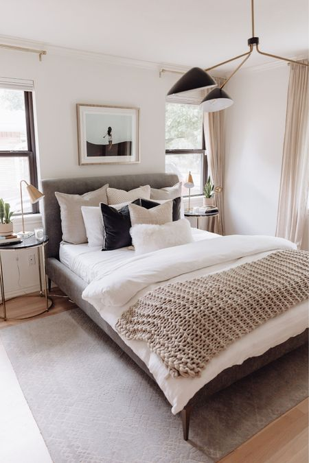 Bedroom Decor // bedroom, bedroom decor, home decor, guest bedroom, bedding, decorating, dresser, side table, bedside table, mirror, vase, pampas grass, full length mirror, accent pillow, accent chair, rug, picture frames, lamps, decorative pillow covers, bedroom furniture   #LTKhome