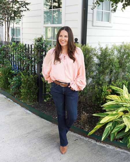 Fall outfits / workwear / light pink long sleeve blouse with big sleeves / brown belt with gold buckle / dark blue petite bootcut jeans / brown mules   #LTKunder50 #LTKworkwear #LTKunder100