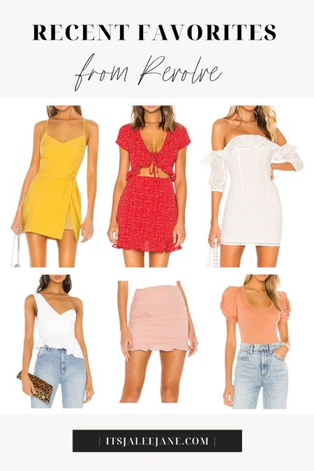 Revolve Summer Favorites!  ••• Summer outfits. Summer wedding guest dresses. Yellow dress. White eyelet off the shoulder dress. Red polka dot tie-front peekaboo dress. Asymmetrical one-shoulder white peplum blouse top. Ruched pink mini skirt. Floral mini dress. Free people puff sleeve bodysuit. Large gold hoops.  #LTKunder100 #LTKstyletip
