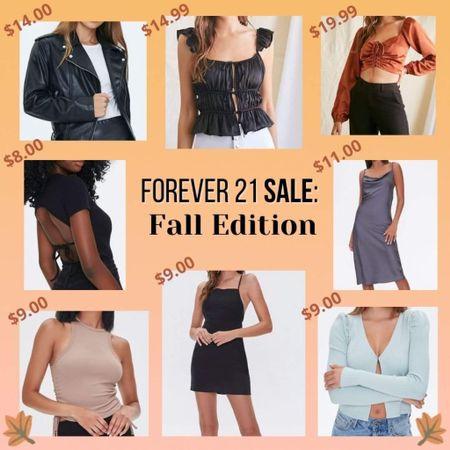 Forever 21 sale fall autumn clothing favorites leather jacket mini dress satin dress crop top halter top cardigan open back basics affordable fashion outfit  #LTKsalealert #LTKunder50 #LTKSale