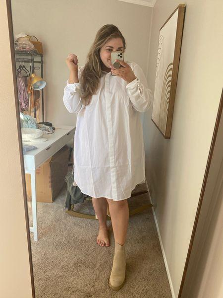White shirt dress on sale. Sized up to 20.   #LTKsalealert #LTKunder50 #LTKcurves