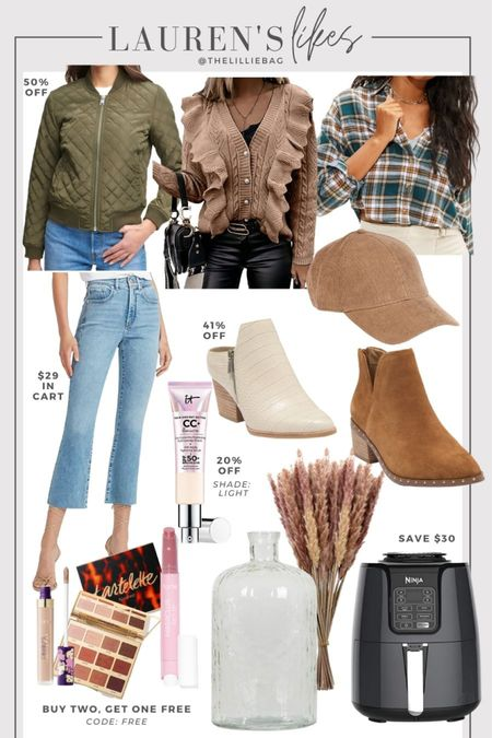 Today's sale finds! Fall style. Quilted bomber jacket 50% off. Boots. Fall home decor. Air fryer on sale. Tarte sale. Buy two get one free code: free. Cc cream 20% off. I use shade light. Amazon finds.   #LTKunder50 #LTKsalealert #LTKunder100