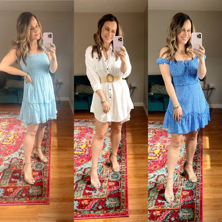 Summer dresses from amazon that I am loving. 1. Love the ties on top of this little sun dress! 2. This dress is actually a swimsuit cover up but I added a nude slip dress and a belt for a cute summer outfit, everything is an amazon find! 3. This blue off the shoulder dress is everything and would be so cute for a wedding guest dress! Also linked my favorite nude heels!   #LTKunder50 #LTKshoecrush #LTKwedding