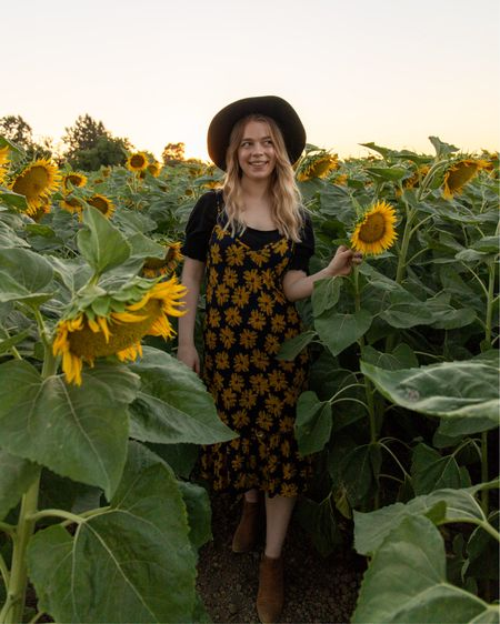 Sunflower dress with black top and hat http://liketk.it/2S7ul #liketkit @liketoknow.it