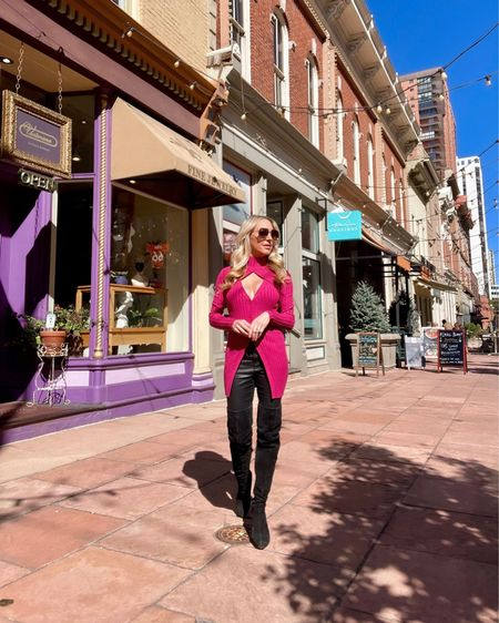 Loving this bright pink knit top for its unusual neckline & longer lengths. It's one of those tops that just gives Fall outfits & business casual looks life! Black suede thigh high boots & black skinny jeans on repeat this Autumn.  #LTKshoecrush #LTKSeasonal #LTKstyletip