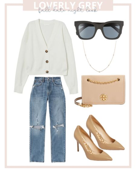Loverly grey fall date night look: pair a cardigan with mom jeans and heels!   #LTKstyletip #LTKSale #LTKunder100