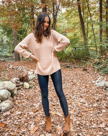 Amazon sweater on sale right now. Wearing size small in the khaki color. Love the oversized fit, very bump-friendly! Just spotted it on sale!  Wearing size small in these faux leather leggings!  #LTKSeasonal #LTKbump #LTKunder50