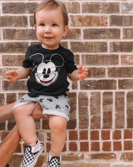 This is quite possibly the only way to get him to stay still long enough for a photo anymore. 🤷🏻♀️  Also, I think those scraped knees are here to stay. Every time one heals, another one pops up in its place.   Screenshot this pic to get shoppable product details for Emerson's #disneyinspired outfit with the LIKEtoKNOW.it app. These shorts are so soft and every time he wears them, he has to show me all the Mickeys. ❤️ http://liketk.it/2wtC0 @liketoknow.it @liketoknow.it.family #liketkit #LTKfamily#LTKsalealert