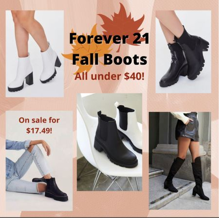 Forever 21 fall boots affordable fall fashion shoes combat boots Chelsea boots chunky black boots tall suede leather booties  #LTKSale #LTKSeasonal #LTKsalealert