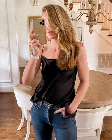My Vince satin cami is 25% off ✨ It's a great closet staple to wear with jeans, a satin slip skirt, or under a blazer. Runs true to size!   cami, camisole, satin camisole, black cami http://liketk.it/3bMLT #liketkit @liketoknow.it