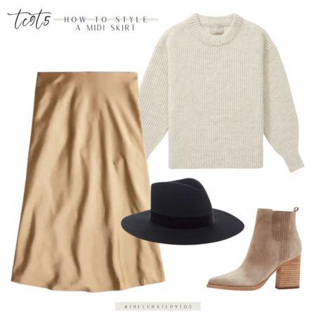 Chucks knit sweater, midi skirt, black bag, suede bootie  #LTKstyletip #LTKshoecrush #LTKSeasonal