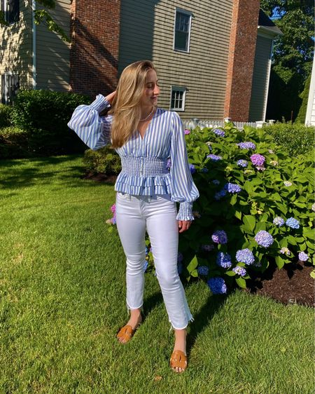 Perfect outfit for work - Cistar NY striped top with a smocked waist and white jeans from J. Crew http://liketk.it/3hJPi #liketkit @liketoknow.it #LTKunder100 #LTKshoecrush #LTKstyletip