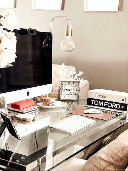 Home Office Ideas. Neutral home office inspiration. Office space ideas. Glass office desk. Edison Bulb Desk Lap. #potterybarn   #LTKhome #LTKSeasonal