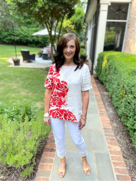 This linen top from Chico's in a gorgeous coral floral pattern is so versatile for summer! The white capris are perfect with pull-on styling and cutout detail on the hem.   #LTKunder100 #LTKSeasonal #LTKstyletip