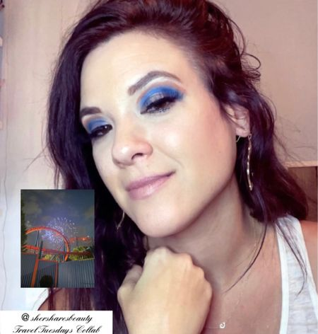 Blue eyeshadow look with a pop of orange for our Amusement Parks Travel Tuesdays Makeup Collab today. Used the Jeffree Star Blue Bloods and Pro Fusion Spectrum Palette to create this look.    #LTKbeauty