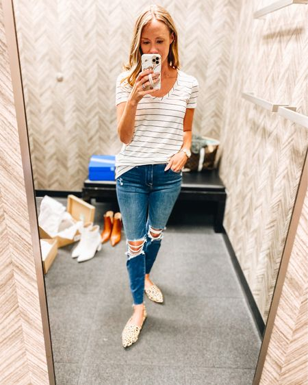 Basic tees are a necessity. Especially when they're only $12.  Nsale / Nordstrom / tee / flats / leopard / Steve Madden   http://liketk.it/2U6J7 #liketkit @liketoknow.it #LTKstyletip #LTKunder50