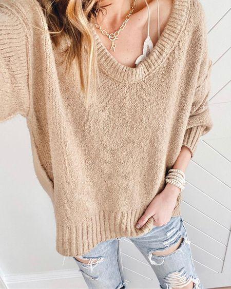 Found this popular free people sweater on sale!! Under $40. Wearing xs. It fits oversized. Boyfriend jeans also on sale and fits true to size.    #liketkit @liketoknow.it http://liketk.it/3kMYu #LTKsalealert #LTKunder50 #LTKstyletip