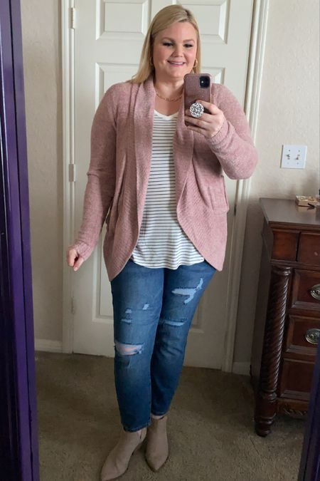 Grace & Lace fall outfit. Pink circle cardigan is SO soft and cozy. Fits true to size. Striped long sleeve soft tee fits true to size. High waist mom jeans- size down if in between sizes.    #LTKSeasonal #LTKunder50 #LTKstyletip