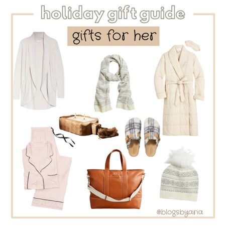 Holiday gift guide cozy gifts for her gift guide for mom gift guide for her barefoot dreams cardigan pajamas luxury bath robe candle scarf weekender bag slippers   #LTKGiftGuide #LTKHoliday #LTKstyletip
