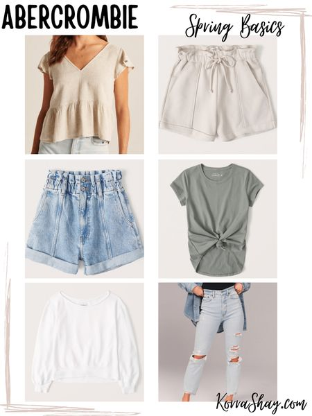 Abercrombie spring basics!  Shop these cute basic favorites from Abercrombie for this spring time!   ✨✨✨✨✨  Spring, spring basics, fashion basics, simple clothes, abercrombie, Abercrombie basics, flutter top, neutral shorts, paper bag shorts, denim shorts, olive top, tie front top, white sweatshirt, ripped jeans   #LTKSpringSale #LTKstyletip #LTKunder100