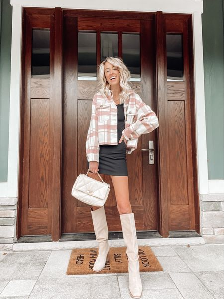 Just call me Hey, it's Shackets over here! 😂🤷🏼♀️   I'm rounding up my favorite shackets for fall, AND sharing my favorite ways to style shackets over on the blog!  This cute pink, plaid guy is from apricot lane bouquet — you can save 20% with code: JENNA 🤙🏻🍂   #LTKunder50 #LTKstyletip #LTKSeasonal