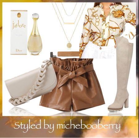 Elegant Faux Leather Shorts Styling #fall #fall2021 #faux #fauxleather #shorts #blouses #handbags #handbagswithchains #boots #otk #otkboots #necklaces #layers #layernecklaces #perfume #Dior  https://rstyle.me/+0NupnS5bCF244dqZIxtzJA - handbag link      #LTKSeasonal #LTKshoecrush #LTKGiftGuide