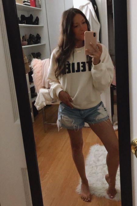 Summer to Fall outfit. Sweatshirts. Shorts. Gold Jewelry picks! Under $25    #LTKSeasonal #LTKstyletip #LTKunder50