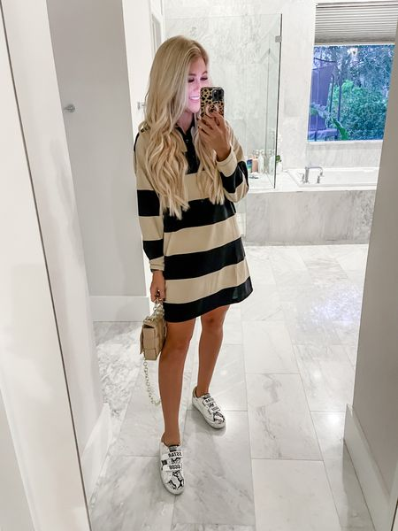 Cutest little $32 rigby stripes dress for fall. Pair with sneakers like I did or a cute combat boot. Tie a denim jacket around your waist to complete the look. Also linking my bottega Veneta dupe chain bag and old school golden goose    #LTKSeasonal #LTKitbag #LTKunder50
