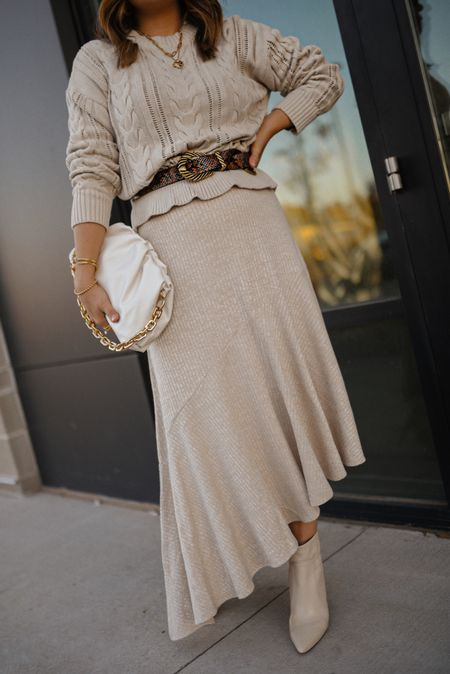 The perfect neutral look! Walmart fashion, walmart finds, knit skirt, knit sweater, fall outfit, fall style  #LTKshoecrush #LTKunder50 #LTKunder100