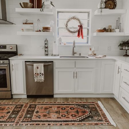 A clean kitchen makes me feel so much more centered! When my environment is chaos, my mind goes on overdrive and loses focus. ❤️   If you saw my IG stories from yesterday, you saw this new rug that I am in love with! 😍 It was an ad that popped up on my phone... couldn't believe it was only $100! Soo happy I snagged it!   I've linked it in the LTKapp.  Shop your screenshot of this pic with the LIKEtoKNOW.it shopping app  http://liketk.it/2Psy5 #liketkit @liketoknow.it @liketoknow.it.home