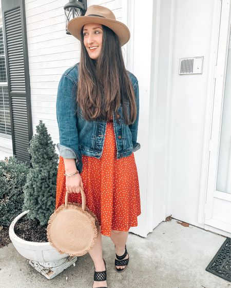 Spring dress with a jean jacket and heels    http://liketk.it/3bEeb @liketoknow.it #liketkit #LTKunder50 #LTKstyletip #LTKsalealert
