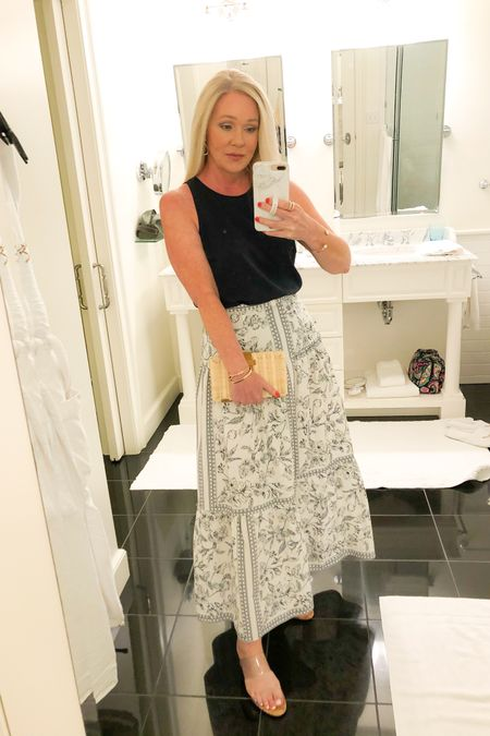 Loving maxi skirts for summer! Runs true to size. Size small top. Clear heels true to size. Vacation outfit.  http://liketk.it/3fnfD #liketkit @liketoknow.it #LTKtravel #LTKstyletip #LTKwedding