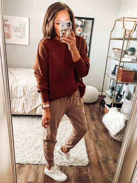 Casual fall outfit! Amazon sweater styled with Old Navy joggers and Adidas white sneakers. Fall outfits, fall, joggers, Amazon fashion #ltkfall #founditonamazon  #LTKstyletip #LTKsalealert #LTKunder50