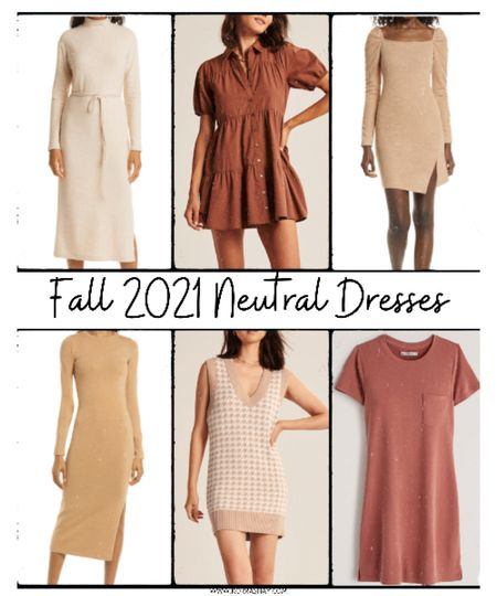 Fall 2021 neutral dresses!  Obsessed with all of these neutral dresses of different lengths for the fall fashion season!   🧡🧡🧡🧡🧡🧡🧡  Sweater dress, neutral sweater dress, shirt dress, brown shirt dress, sweater vest dress, tshirt dress, long sleeve fall dress, short fall dresses   #LTKstyletip #LTKSeasonal #LTKunder100