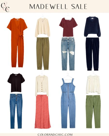 Fall outfits from Madewell part of the LTK Sale. Receive 25% off of $150+ purchase. Linking the Velour matching set, tie knot jumpsuit, drawstring midi skirt and more! All of these outfits are perfect for any casual occasion.   #LTKunder100 #LTKstyletip #LTKSale
