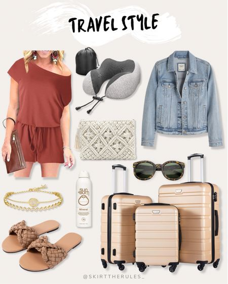 Travel outfit, travel style, summer fashion, summer dress, casual outfit, weekend dress, travel essentials, travel gear, Amazon finds, Abercrombie: off the shoulder romper, travel neck pillow, memory foam neck pillow, white crochet clutch, denim jacket, gold bracelet, brown slide sandals, brown woven sandals, champagne hard shell luggage, beige hard shell luggage set, tortoise sunglasses. @liketoknow.it http://liketk.it/3eQfS #liketkit   #LTKunder50 #LTKstyletip #LTKtravel