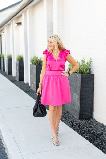 Pink party skirt and pink ruffle top for the win! I'm in the small skirt and XS top. Would prefer XS skirt! FANCY15 for 15% off!  #LTKstyletip #LTKshoecrush #LTKHoliday