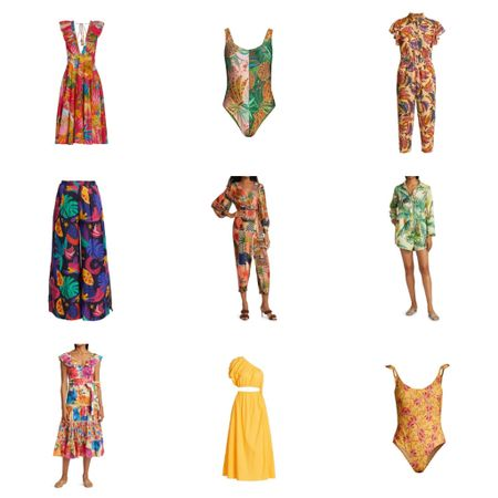 Vacation outfits & Summer outfits by FarmRio at Saks Fifth Ave Swimsuits Print dresses Midi dresses Beach vacation outfits   http://liketk.it/3k7Xk #liketkit @liketoknow.it #LTKswim #LTKsalealert #LTKtravel