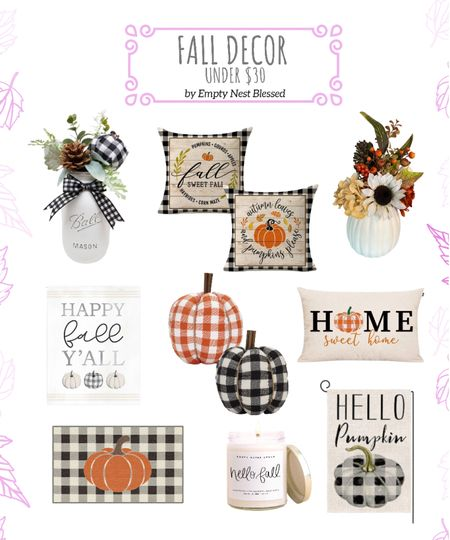 Fall decor under $30, fall date night, fall pillows, table piece, pumpkin doormat, throw pillow, fall flowers, gingham pumpkins, candle, happy fall yard sign, fall vase, pumpkin centerpiece, decorations, Halloween decor, fall flowers, fall wedding  🎃 Gingham is perfect way to decorate for Halloween and fall ! Visit EMPTYNESTBLESSED.com for more!  #LTKHoliday #LTKunder50 #LTKhome