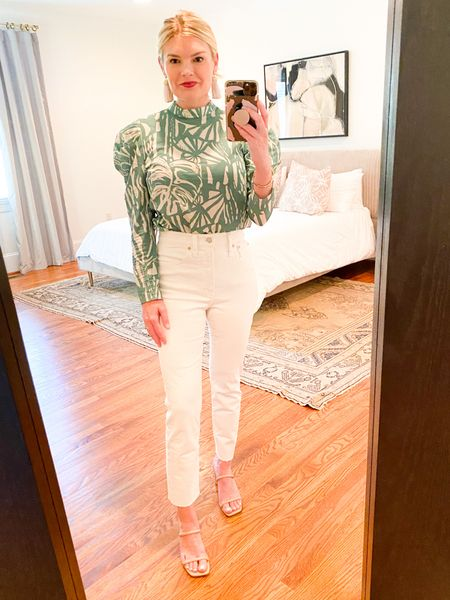 Top from my recent @hm haul. Love the high neck and puffy sleeves, would be cute with high waist shorts, too.   #LTKSeasonal #LTKstyletip #LTKunder50