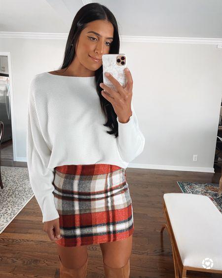 Plaid skirt from Amazon fashion and boatneck sweater, all under $30   #LTKunder50 #LTKSeasonal