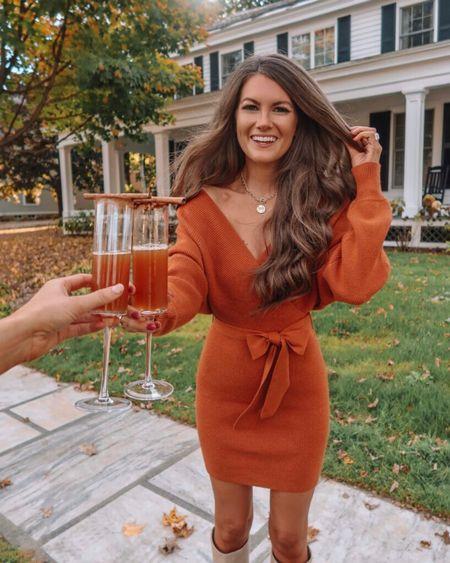 The Chelsea Wrap Sweater Dress Burnt Orange  XS, TTS, cmcoving, Caitlin Covington, Pink Lily Collection, fall fashion, use code CAITLIN20 for 20% off!  #LTKunder100 #LTKsalealert #LTKSeasonal